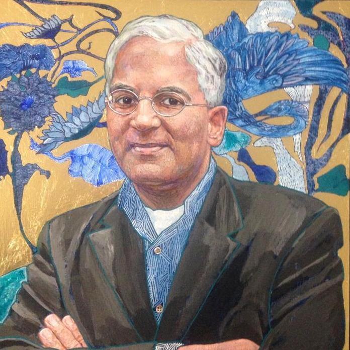 Gopal Ramanatthan 40x40cm acrylic oil and gold leaf on panel 2019